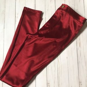 Pants - Shiny red skinny jeans